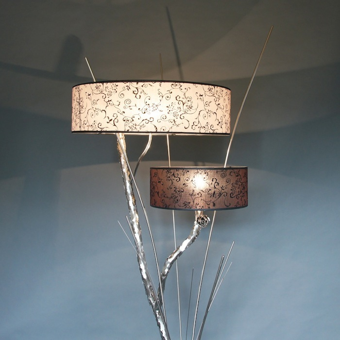 Stoere lampen staand tak bos twijg metaal zilver nikkel kap for Landelijke lampen