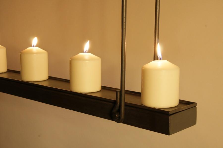 Design Hanglamp met Kaarsen en Smeedijzeren beugels voor boven uw ...