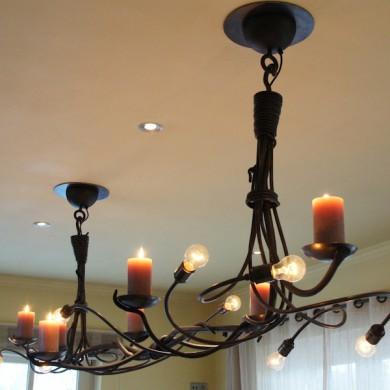 Grote hanglamp - kroonluchter van Smeedijzer met Kaarsen, detailfotos ...