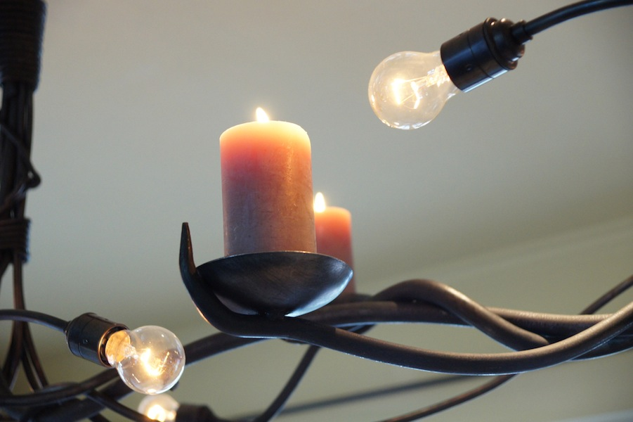Grote landelijke Design Hanglamp van smeedijzer met kaarsen – Crazy ...