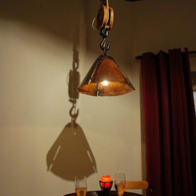 Hanglamp met kap van koper en ketting, voor uw stamtafel, bar, snooker ...