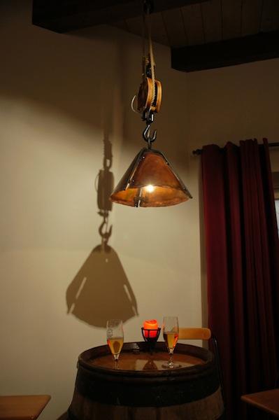 Hanglamp koper stamtafel smeedijzer ketting kap snooker bar biljart