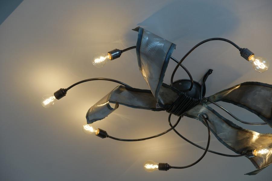 Exclusieve Stoere Plafondlamp van Ruig ijzer met Takken en waaier ...