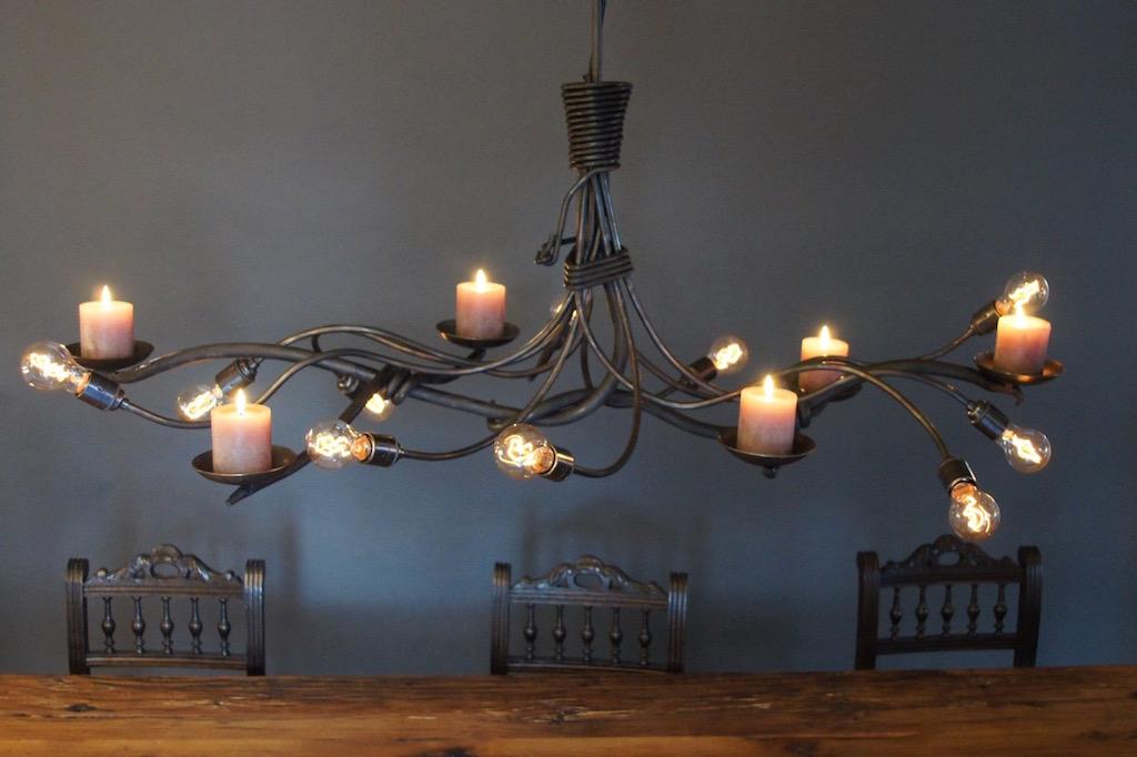 Kroonluchter Hanglamp met Kaarsen en Landelijk Design van smeedijzer ...