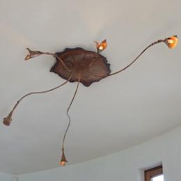koperen plafondlamp