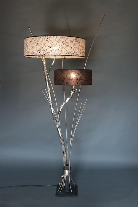 Wonderbaar Stoere lampen staand tak bos twijg metaal zilver nikkel kap YA-77