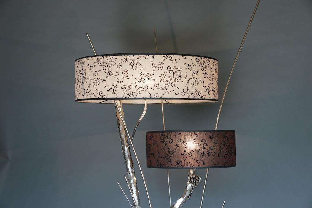 Stoere lampen staand tak bos twijg metaal zilver nikkel kap