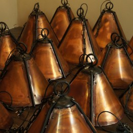 handgemaakte koperen barlampen