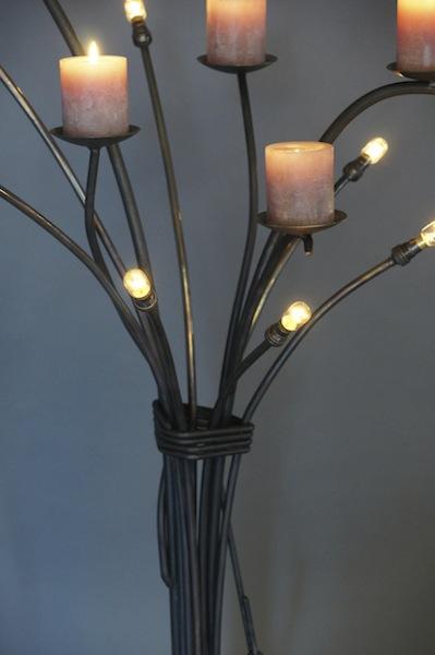 Goede Stoere nostalgische staande lamp van smeedijzer met kaarsen EZ-42