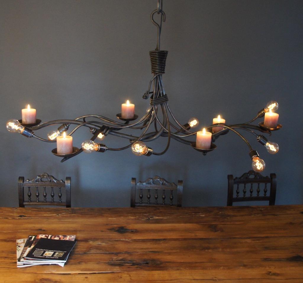 Kroonluchter hanglamp met kaarsen landelijk for Landelijke lampen